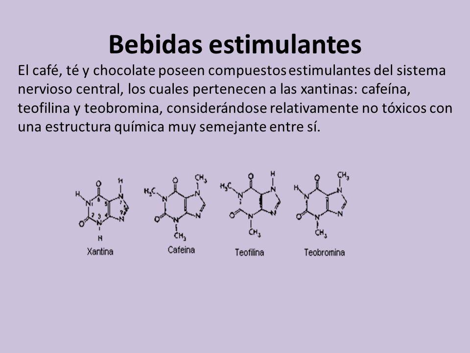 Bebidas estimulantes El café, té y chocolate poseen compuestos estimulantes del sistema nervioso central, los cuales pertenecen a las xantinas: cafeín