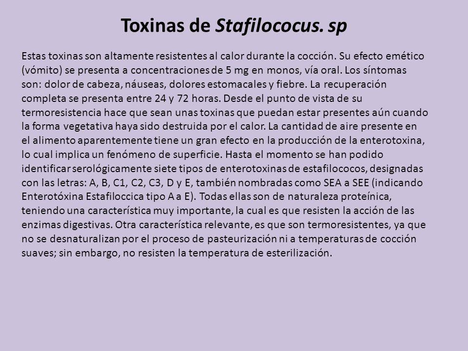 Toxinas de Stafilococus. sp Estas toxinas son altamente resistentes al calor durante la cocción. Su efecto emético (vómito) se presenta a concentracio