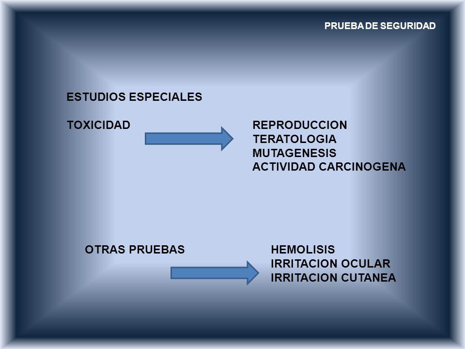 PRUEBA DE SEGURIDAD ESTUDIOS ESPECIALES TOXICIDAD REPRODUCCION TERATOLOGIA MUTAGENESIS ACTIVIDAD CARCINOGENA OTRAS PRUEBASHEMOLISIS IRRITACION OCULAR
