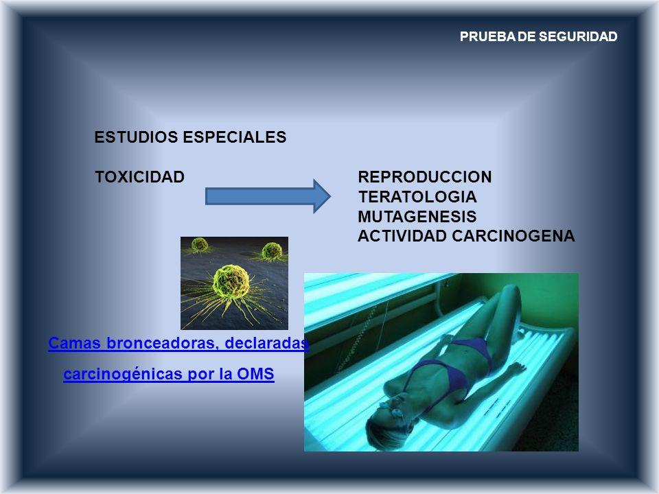 PRUEBA DE SEGURIDAD ESTUDIOS ESPECIALES TOXICIDAD REPRODUCCION TERATOLOGIA MUTAGENESIS ACTIVIDAD CARCINOGENA Camas bronceadoras, declaradas carcinogén