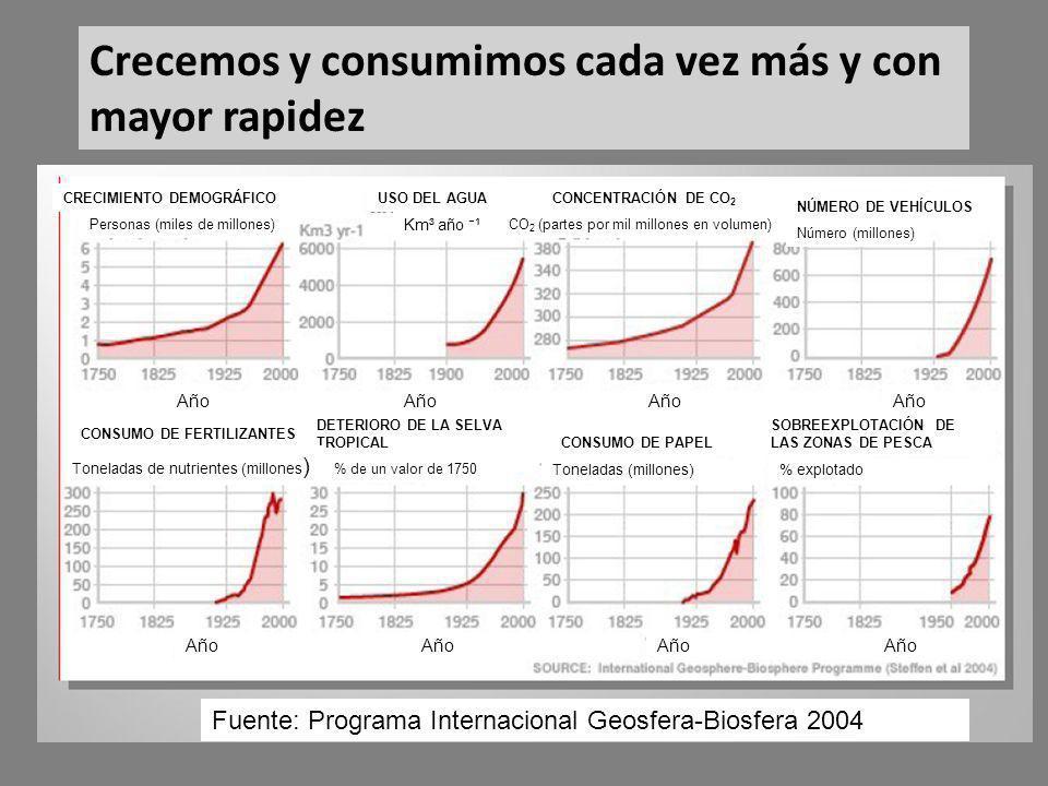 CRECIMIENTO DEMOGRÁFICO Crecemos y consumimos cada vez más y con mayor rapidez USO DEL AGUACONCENTRACIÓN DE CO 2 NÚMERO DE VEHÍCULOS CONSUMO DE FERTILIZANTES DETERIORO DE LA SELVA TROPICAL CONSUMO DE PAPEL SOBREEXPLOTACIÓN DE LAS ZONAS DE PESCA Toneladas de nutrientes (millones ) % de un valor de 1750 % explotadoToneladas (millones) Personas (miles de millones) Km³ año ¹ CO 2 (partes por mil millones en volumen) Número (millones) Fuente: Programa Internacional Geosfera-Biosfera 2004 Año