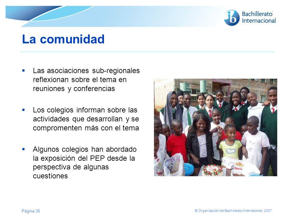 © Organización del Bachillerato Internacional, 2007 Áreas específicas para Alumnos Docentes Comunidad en general Informar sobre acciones y actividades concretas El sitio web del tema para la comunidad del IB