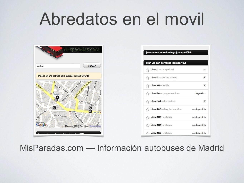 Abredatos en el movil MisParadas.com Información autobuses de Madrid