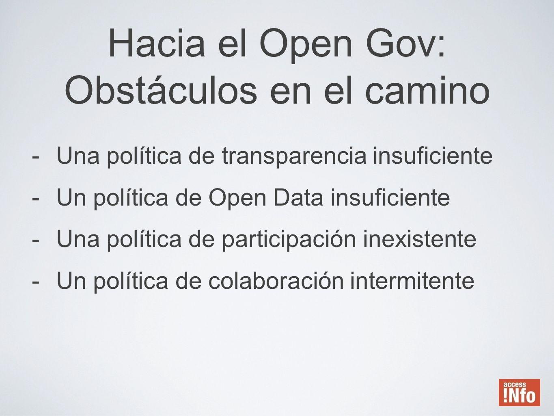 Hacia el Open Gov: Obstáculos en el camino -Una política de transparencia insuficiente -Un política de Open Data insuficiente -Una política de partici