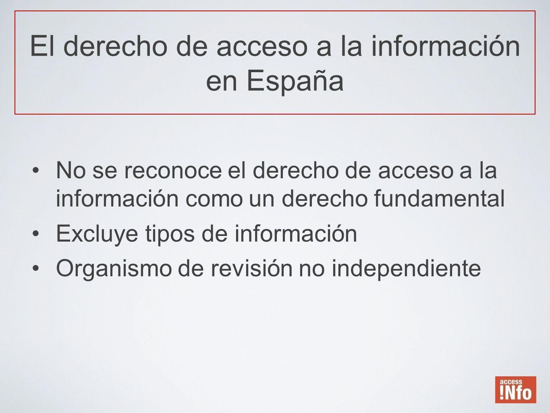 No se reconoce el derecho de acceso a la información como un derecho fundamental Excluye tipos de información Organismo de revisión no independiente E