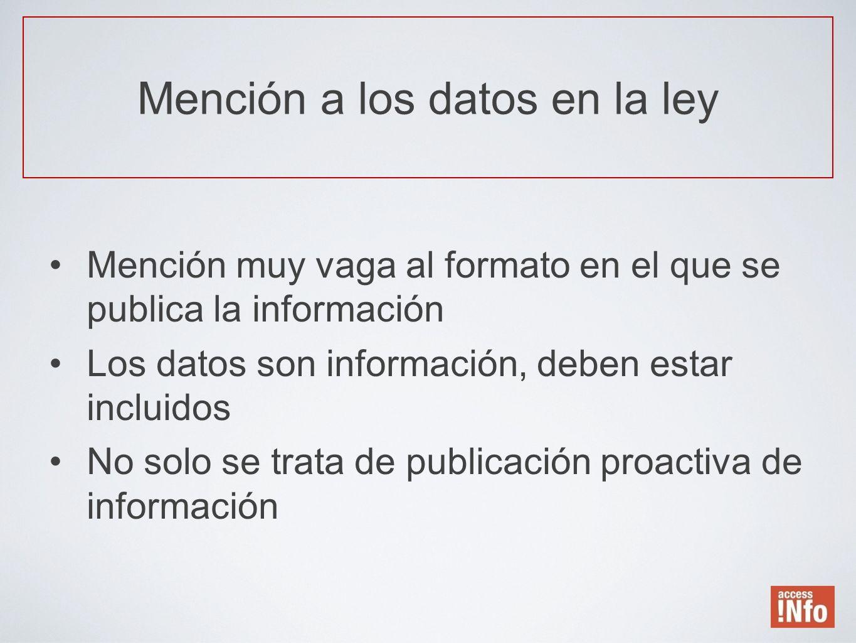 Mención muy vaga al formato en el que se publica la información Los datos son información, deben estar incluidos No solo se trata de publicación proac