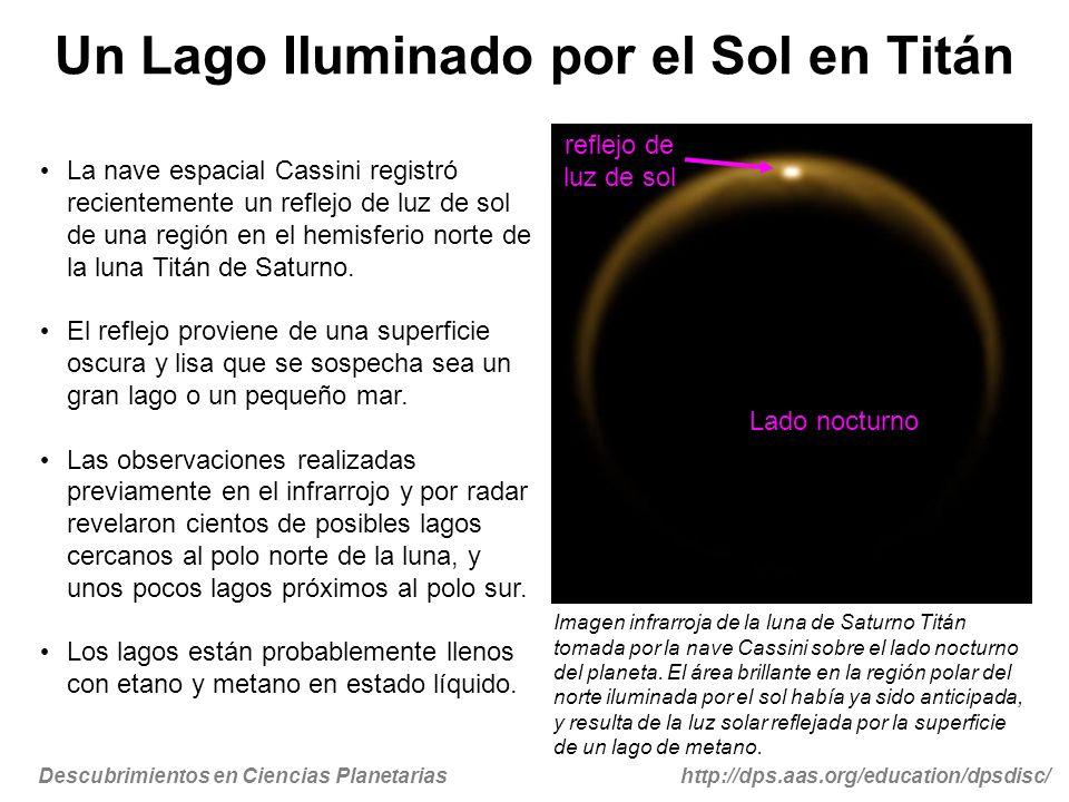 Descubrimientos en Ciencias Planetariashttp://dps.aas.org/education/dpsdisc/ Un Lago Iluminado por el Sol en Titán La nave espacial Cassini registró r