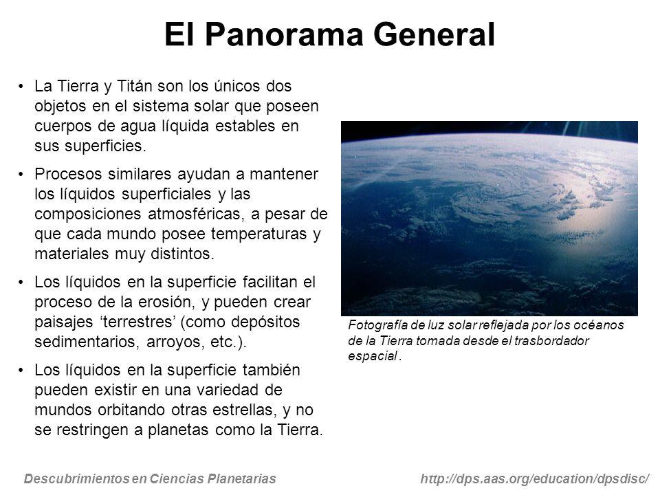Descubrimientos en Ciencias Planetariashttp://dps.aas.org/education/dpsdisc/ El Panorama General La Tierra y Titán son los únicos dos objetos en el si