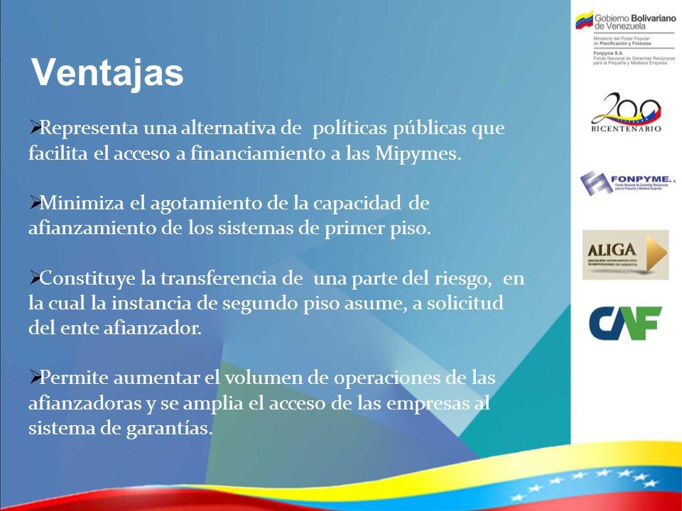 Ventajas Representa una alternativa de políticas públicas que facilita el acceso a financiamiento a las Mipymes. Minimiza el agotamiento de la capacid