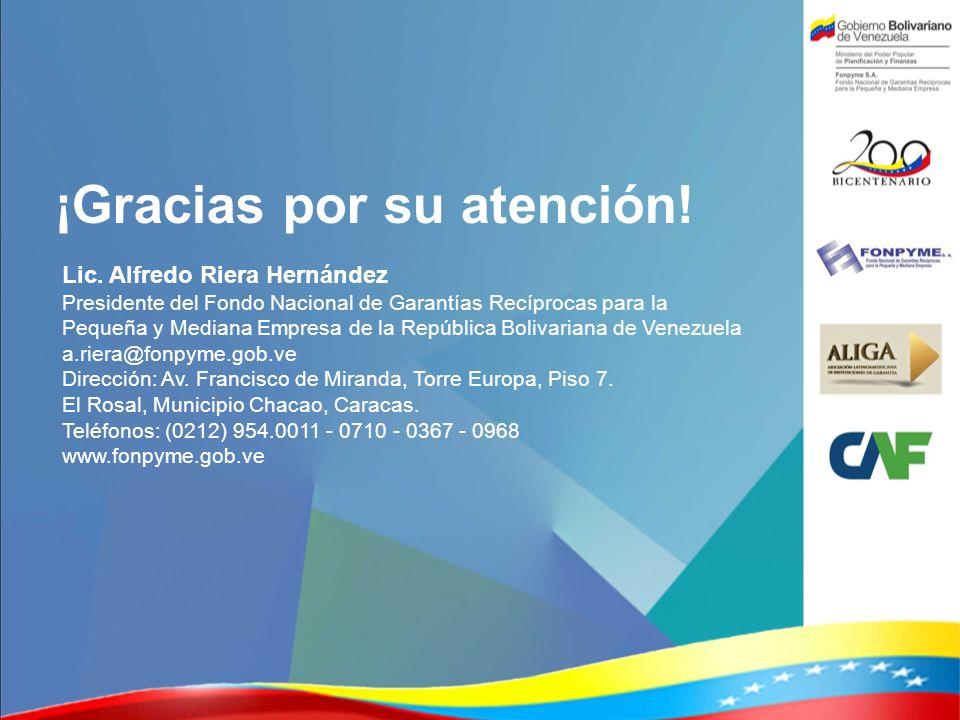 ¡Gracias por su atención! Lic. Alfredo Riera Hernández Presidente del Fondo Nacional de Garantías Recíprocas para la Pequeña y Mediana Empresa de la R