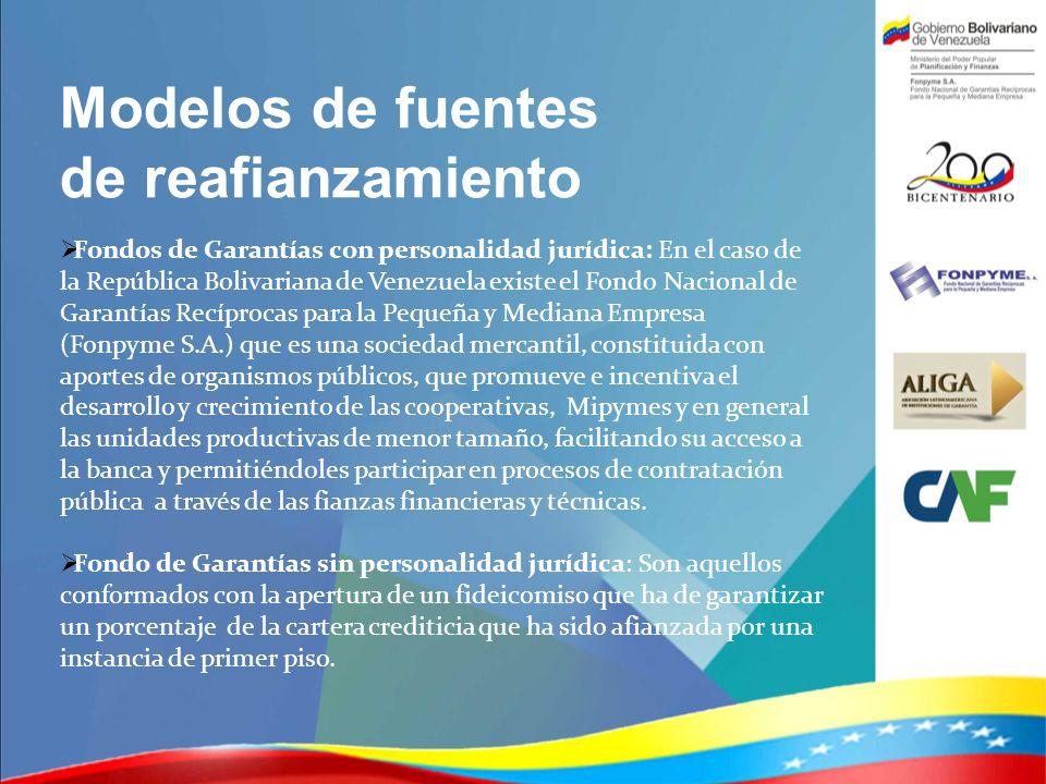 Modelos de fuentes de reafianzamiento Fondos de Garantías con personalidad jurídica: En el caso de la República Bolivariana de Venezuela existe el Fon