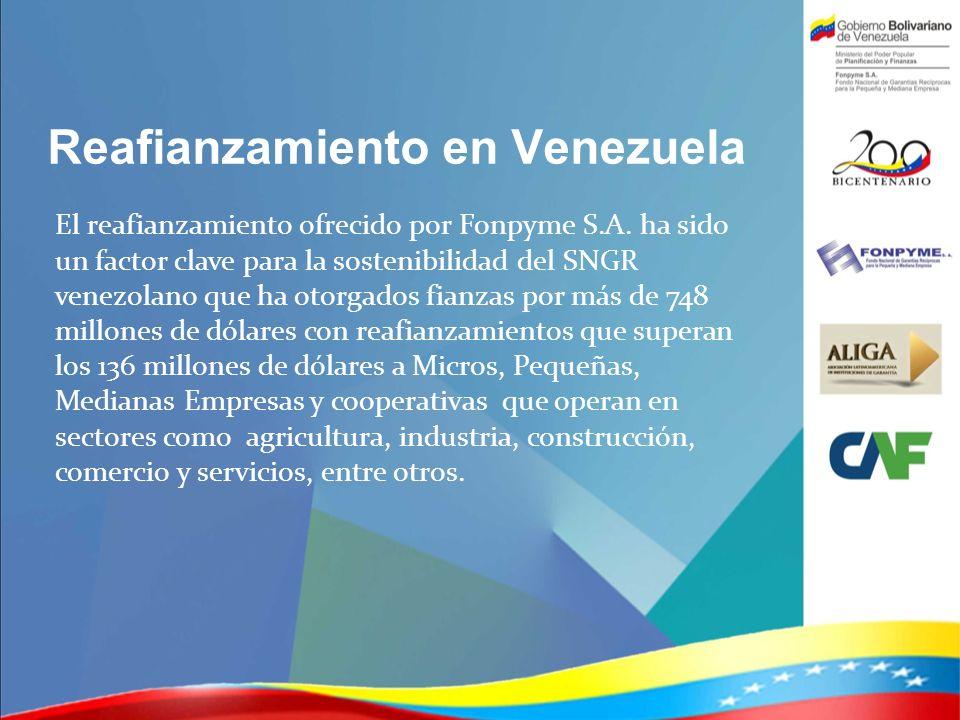 Reafianzamiento en Venezuela El reafianzamiento ofrecido por Fonpyme S.A. ha sido un factor clave para la sostenibilidad del SNGR venezolano que ha ot