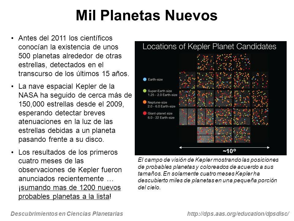 Descubrimientos en Ciencias Planetariashttp://dps.aas.org/education/dpsdisc/ Mil Planetas Nuevos Antes del 2011 los científicos conocían la existencia de unos 500 planetas alrededor de otras estrellas, detectados en el transcurso de los últimos 15 años.