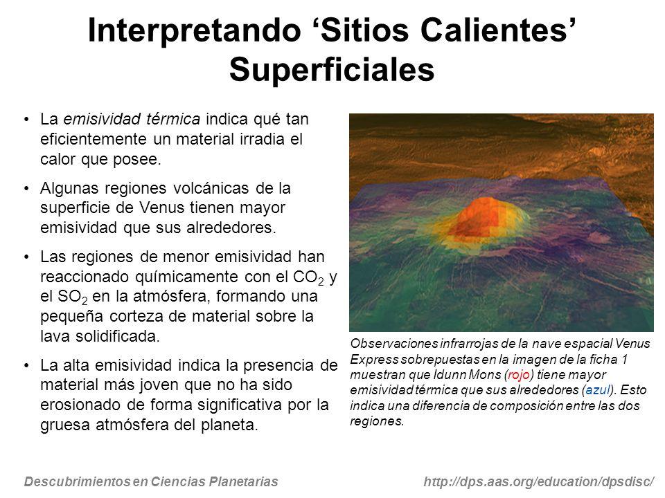 Descubrimientos en Ciencias Planetariashttp://dps.aas.org/education/dpsdisc/ La emisividad térmica indica qué tan eficientemente un material irradia e