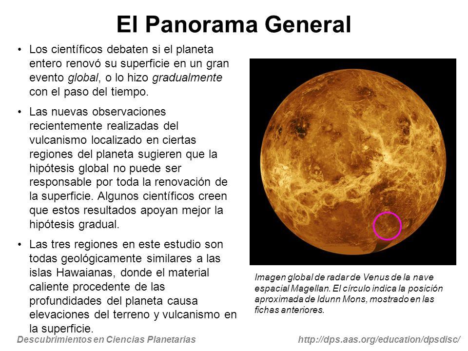 Descubrimientos en Ciencias Planetariashttp://dps.aas.org/education/dpsdisc/ Para Mayor Información … Comunicados de Prensa Space.com - 04/08/10 - Volcanoes on Venus May be Young and Active http://www.space.com/scienceastronomy/venus-volcano-hotspot-100408.html Planetary Society Blog - 04/09/10 - Venus Express evidence for recent hot-spot volcanism on Venus http://www.planetary.org/blog/article/00002434/ BBC - 04/09/10 - Venus still volcanically active http://news.bbc.co.uk/2/hi/science/nature/8611195.stm Imágenes Imagen de la ficha 1 cortesía de NASA / JPL-Caltech / ESA http://photojournal.jpl.nasa.gov/catalog/PIA13001 Imagen de la ficha 2 cortesía de NASA / JPL-Caltech / ESA http://photojournal.jpl.nasa.gov/catalog/PIA13001 Imagen de la ficha 3 cortesía de Magellan / JPL / NASA http://antwrp.gsfc.nasa.gov/apod/ap050903.html Referencias (el acceso a las revistas especializadas puede requerir login del campus) Smrekar et al., Recent Hot-Spot Volcanism on Venus from VIRTIS Emissivity Data, Sciencexpress, 8 April 2010, 10.1126/science.1186785, 2009.