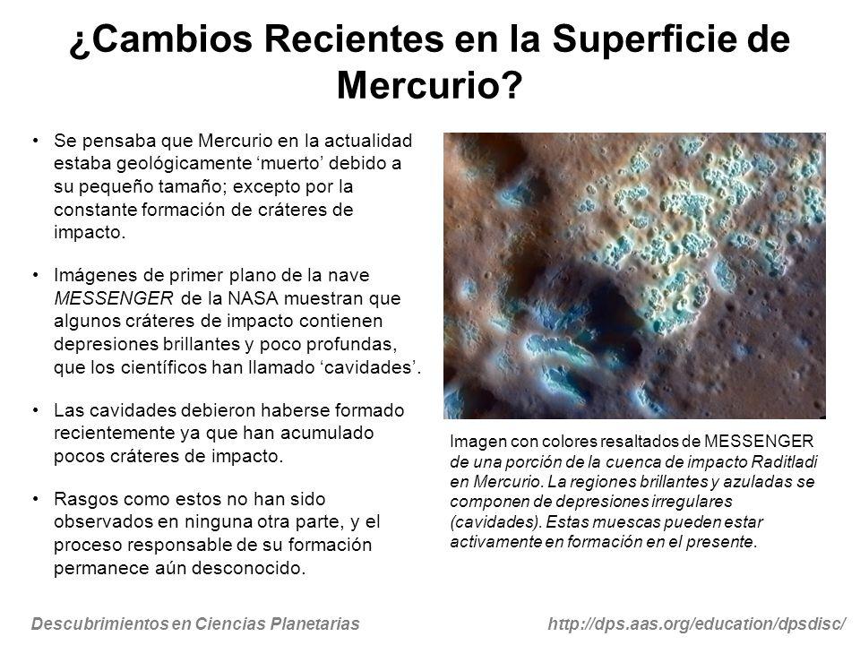 Descubrimientos en Ciencias Planetariashttp://dps.aas.org/education/dpsdisc/ Un Mundo más Volátil de lo Esperado Las cavidades se encuentran principalmente dentro de cráteres de impacto, en rocas probablemente llevadas a la superficie por el mismo evento de impacto.
