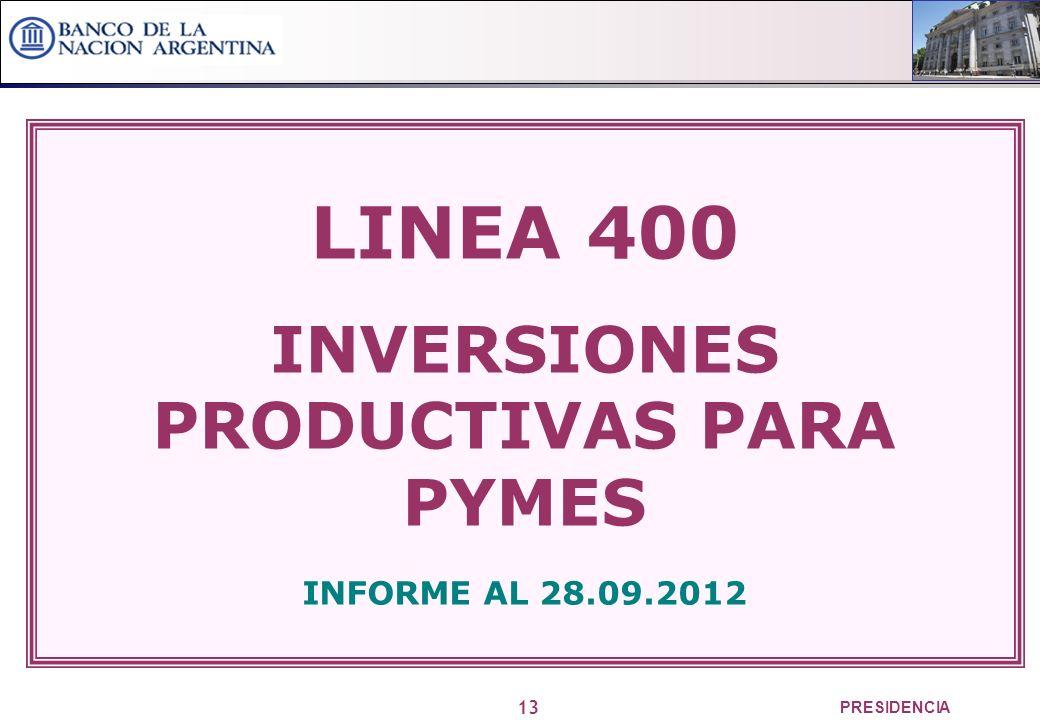 13 PRESIDENCIA LINEA 400 INVERSIONES PRODUCTIVAS PARA PYMES INFORME AL 28.09.2012