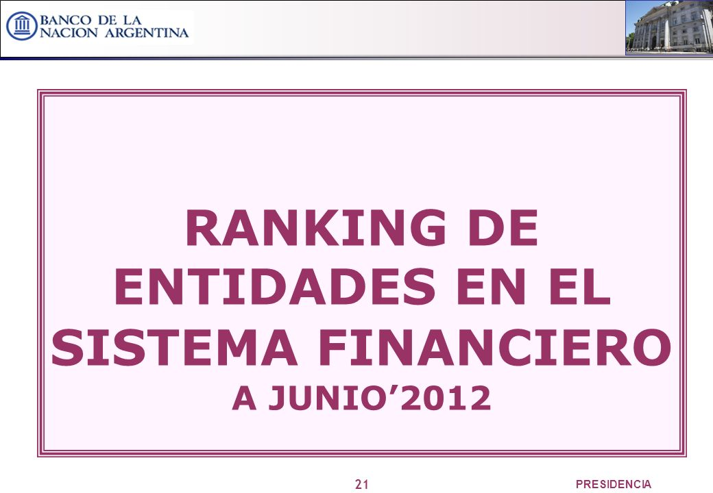 21 PRESIDENCIA RANKING DE ENTIDADES EN EL SISTEMA FINANCIERO A JUNIO2012