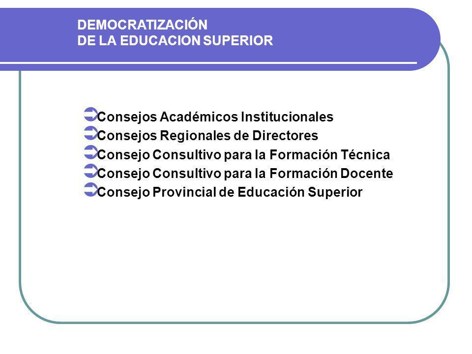 Consejos Académicos Institucionales Consejos Regionales de Directores Consejo Consultivo para la Formación Técnica Consejo Consultivo para la Formación Docente Consejo Provincial de Educación Superior DEMOCRATIZACIÓN DE LA EDUCACION SUPERIOR