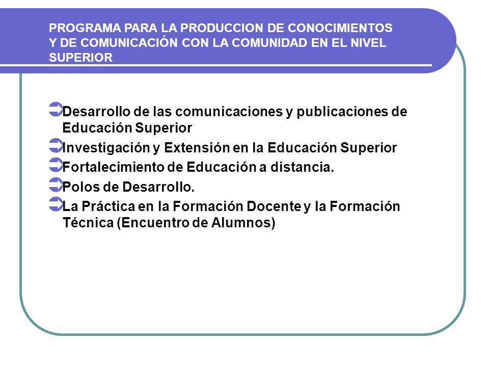 Desarrollo de las comunicaciones y publicaciones de Educación Superior Investigación y Extensión en la Educación Superior Fortalecimiento de Educación a distancia.