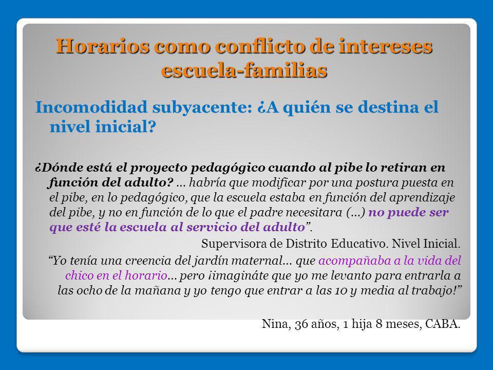 Horarios como conflicto de intereses escuela-familias Incomodidad subyacente: ¿A quién se destina el nivel inicial? ¿Dónde está el proyecto pedagógico