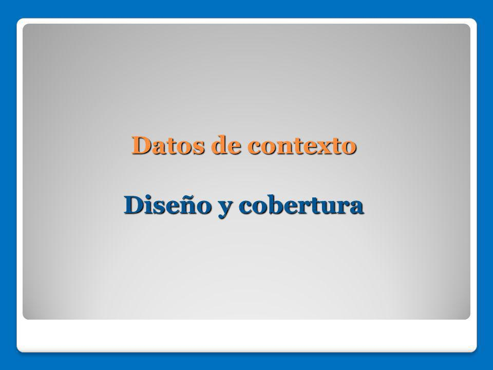 Datos de contexto Diseño y cobertura