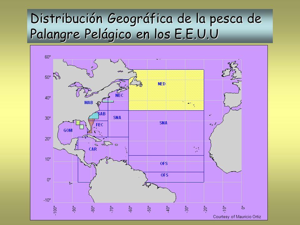 Distribución Geográfica de la pesca de Palangre Pelágico en los E.E.U.U Courtesy of Mauricio Ortiz