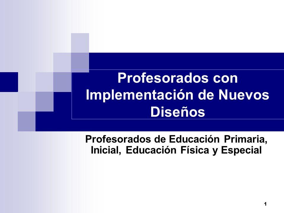 1 Profesorados con Implementación de Nuevos Diseños Profesorados de Educación Primaria, Inicial, Educación Física y Especial
