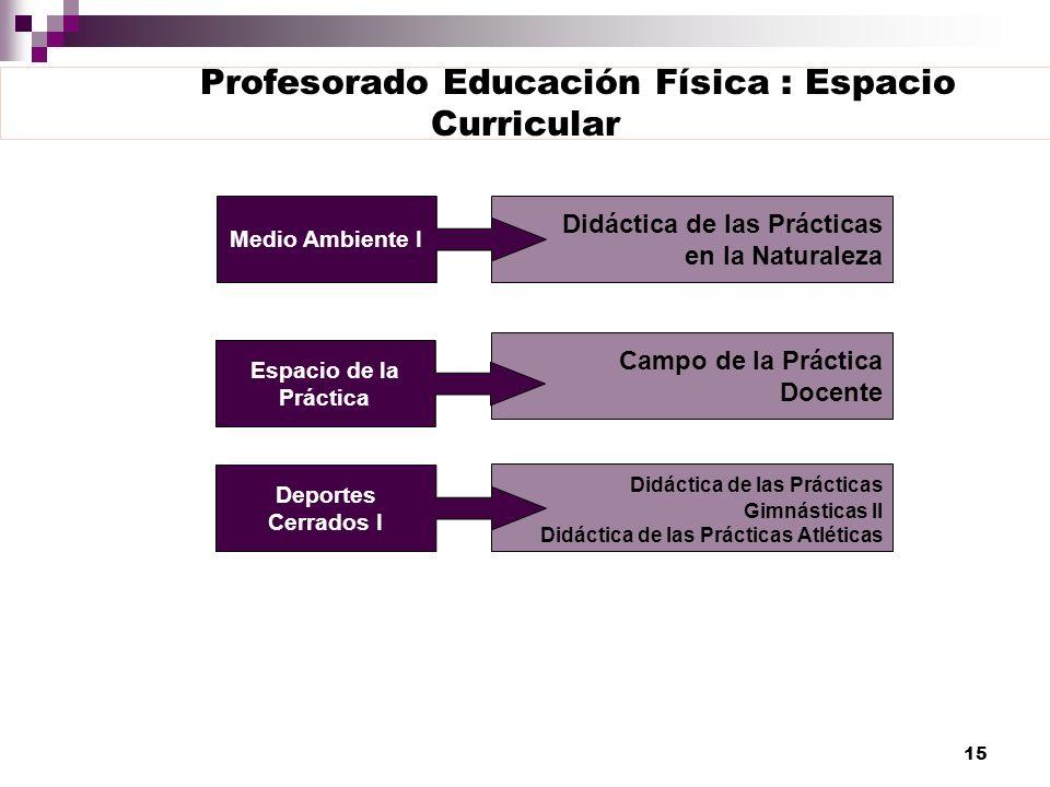 15 Profesorado Educación Física : Espacio Curricular Didáctica de las Prácticas en la Naturaleza Campo de la Práctica Docente Didáctica de las Práctic