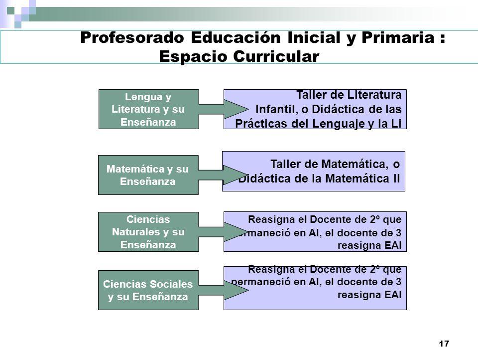 17 Profesorado Educación Inicial y Primaria : Espacio Curricular Taller de Literatura Infantil, o Didáctica de las Prácticas del Lenguaje y la Li Tall
