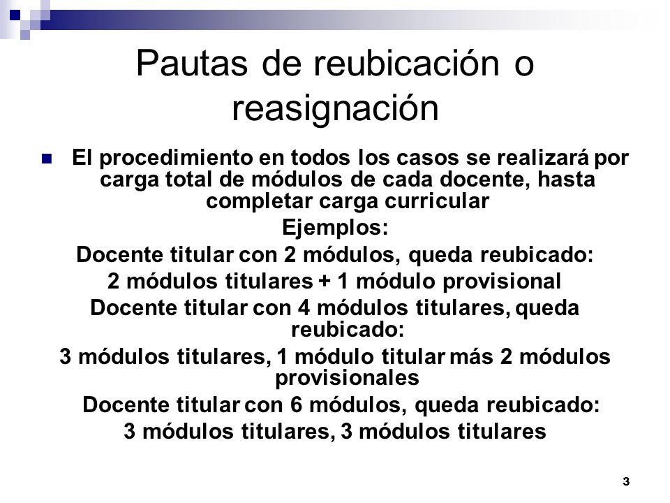 3 Pautas de reubicación o reasignación El procedimiento en todos los casos se realizará por carga total de módulos de cada docente, hasta completar ca