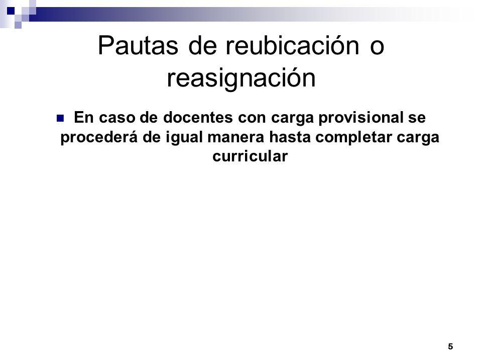 5 Pautas de reubicación o reasignación En caso de docentes con carga provisional se procederá de igual manera hasta completar carga curricular