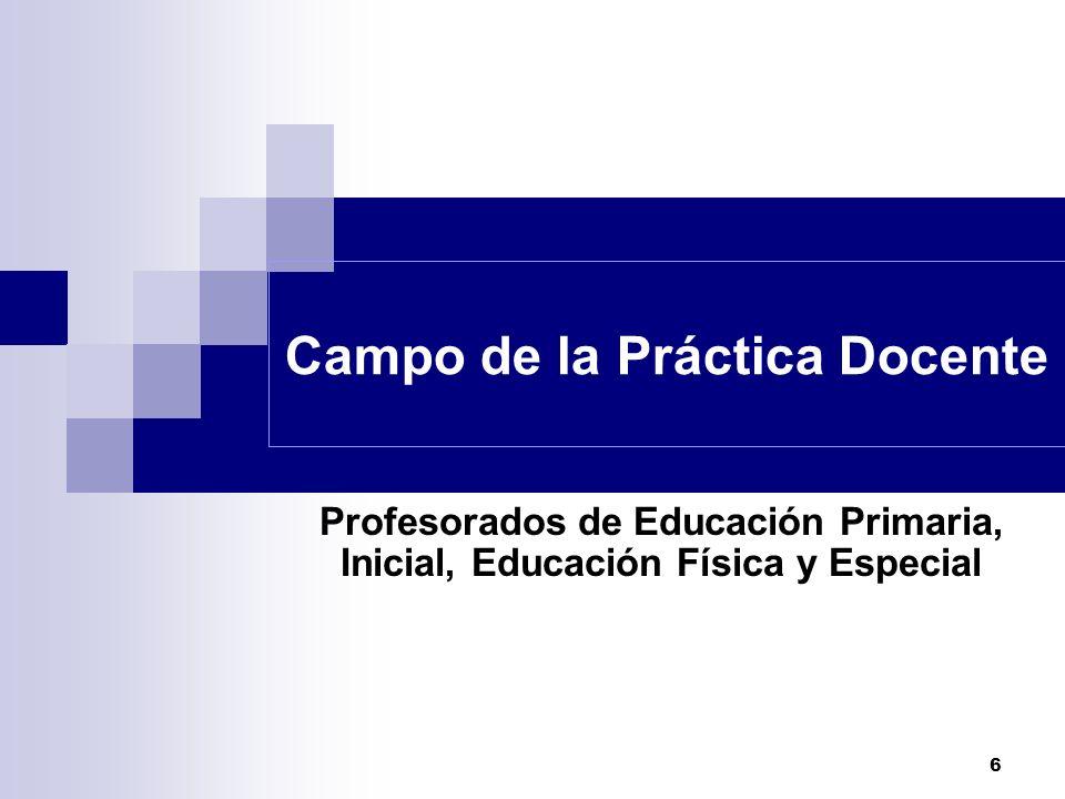 6 Campo de la Práctica Docente Profesorados de Educación Primaria, Inicial, Educación Física y Especial