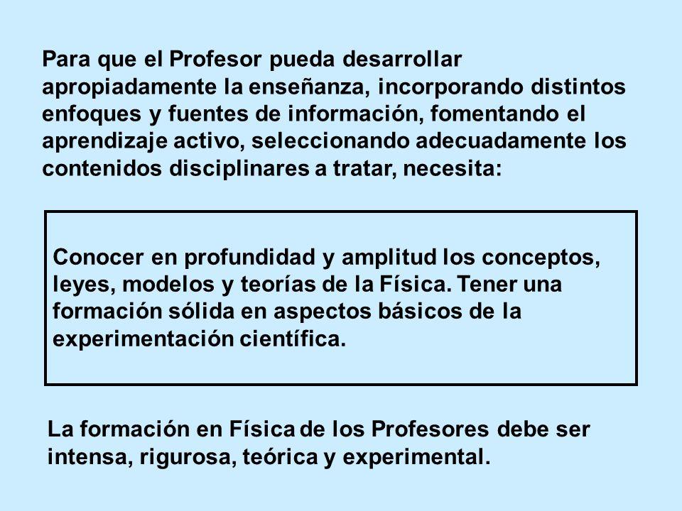Para que el Profesor pueda desarrollar apropiadamente la enseñanza, incorporando distintos enfoques y fuentes de información, fomentando el aprendizaj