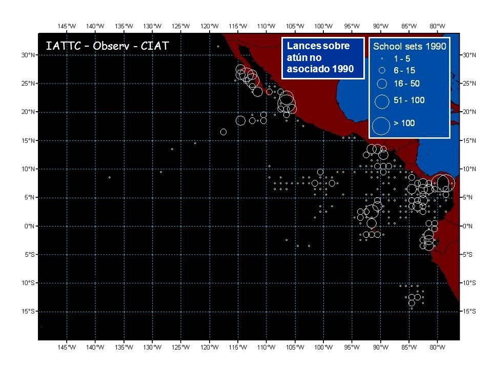 Lances sobre atún no asociado 1990 IATTC – Observ - CIAT
