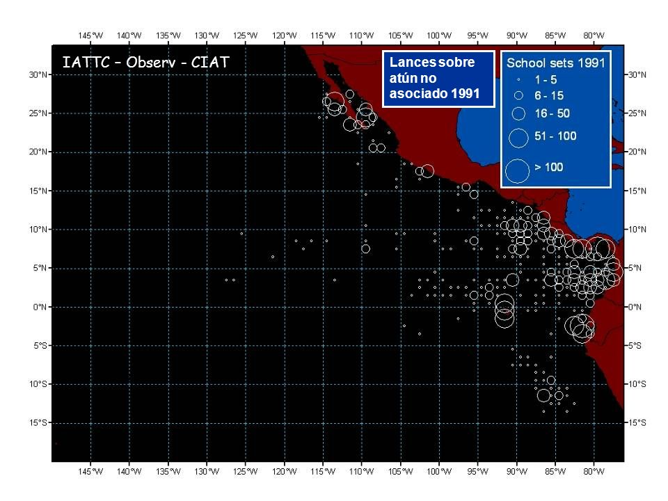Lances sobre atún no asociado 1991 IATTC – Observ - CIAT