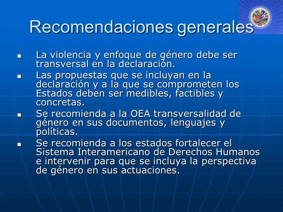 Recomendaciones generales La violencia y enfoque de género debe ser transversal en la declaración.