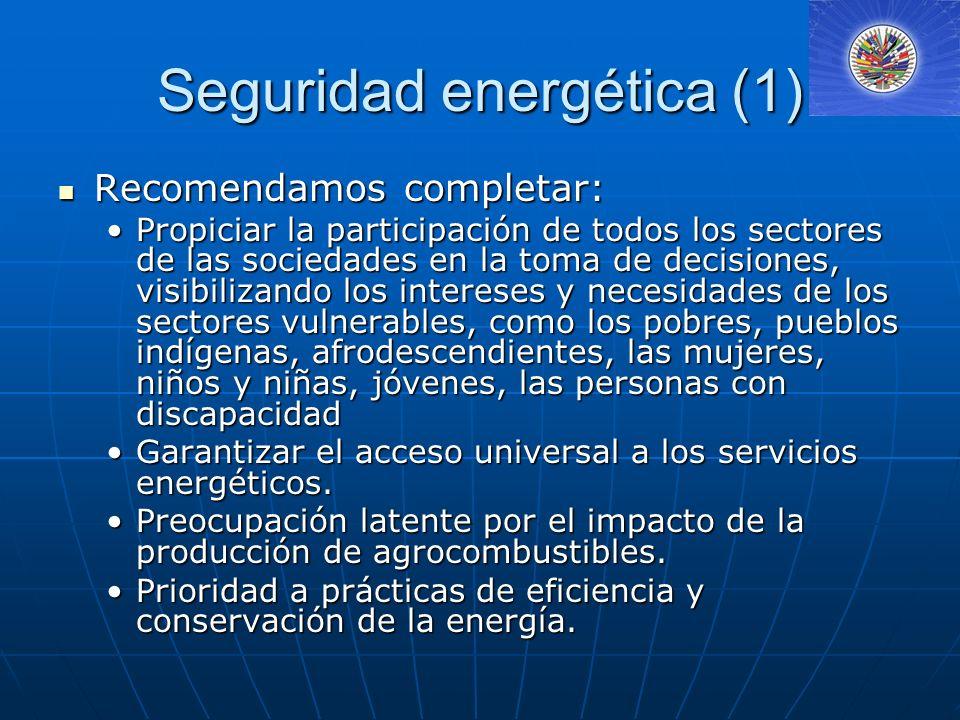 Seguridad energética (2) Instamos incluir: Instamos incluir: Condición para el desarrollo sostenible es el aprovechamiento racional y sostenible del potencial de generación de energía renovable de cada uno de los países.Condición para el desarrollo sostenible es el aprovechamiento racional y sostenible del potencial de generación de energía renovable de cada uno de los países.