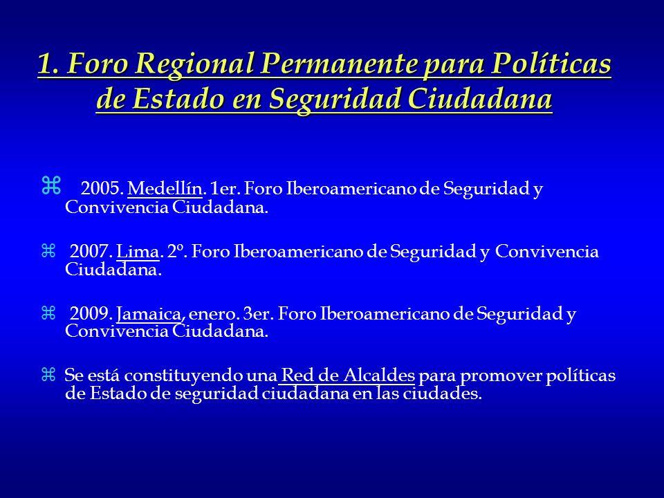 3. Laboratorios Regionales y Locales para el Buen Gobierno de la Seguridad Ciudadana 2. Información, como Bien Público Regional 1. Fortalecimiento de