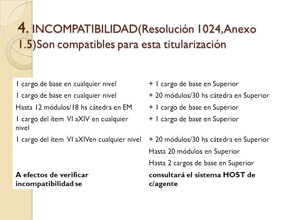 4. INCOMPATIBILIDAD(Resolución 1024, Anexo 1.5)Son compatibles para esta titularización 1 cargo de base en cualquier nivel+ 1 cargo de base en Superio