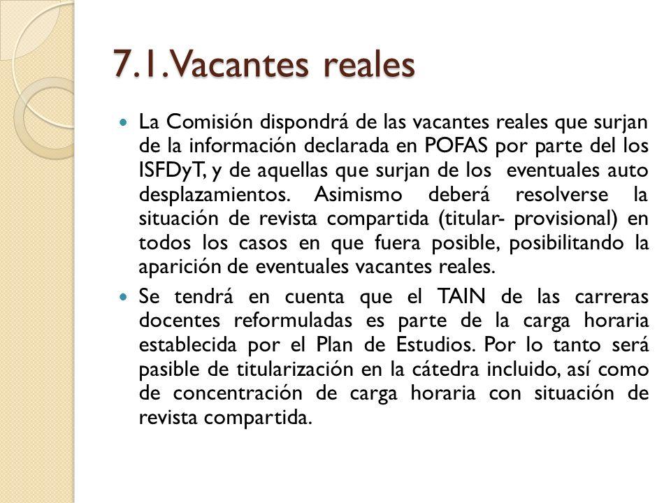 7.1.Vacantes reales La Comisión dispondrá de las vacantes reales que surjan de la información declarada en POFAS por parte del los ISFDyT, y de aquell