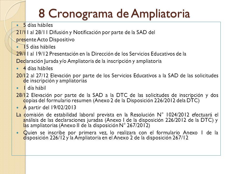 8 Cronograma de Ampliatoria 5 días hábiles 21/11 al 28/11 Difusión y Notificación por parte de la SAD del presente Acto Dispositivo 15 días hábiles 29
