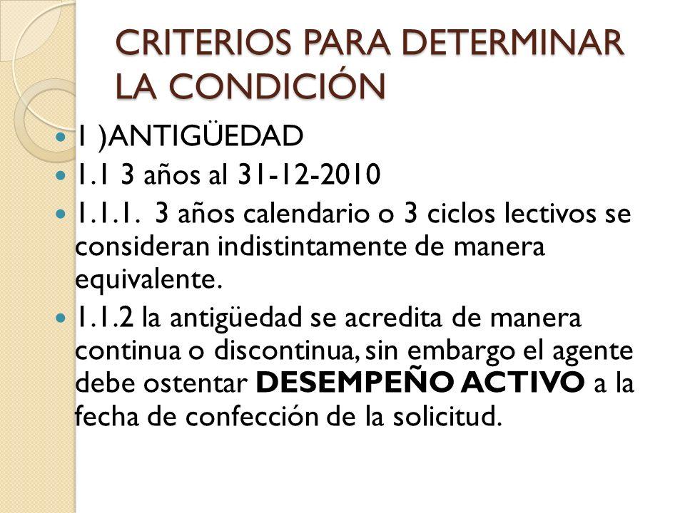 CRITERIOS PARA DETERMINAR LA CONDICIÓN 1 )ANTIGÜEDAD 1.1 3 años al 31-12-2010 1.1.1. 3 años calendario o 3 ciclos lectivos se consideran indistintamen