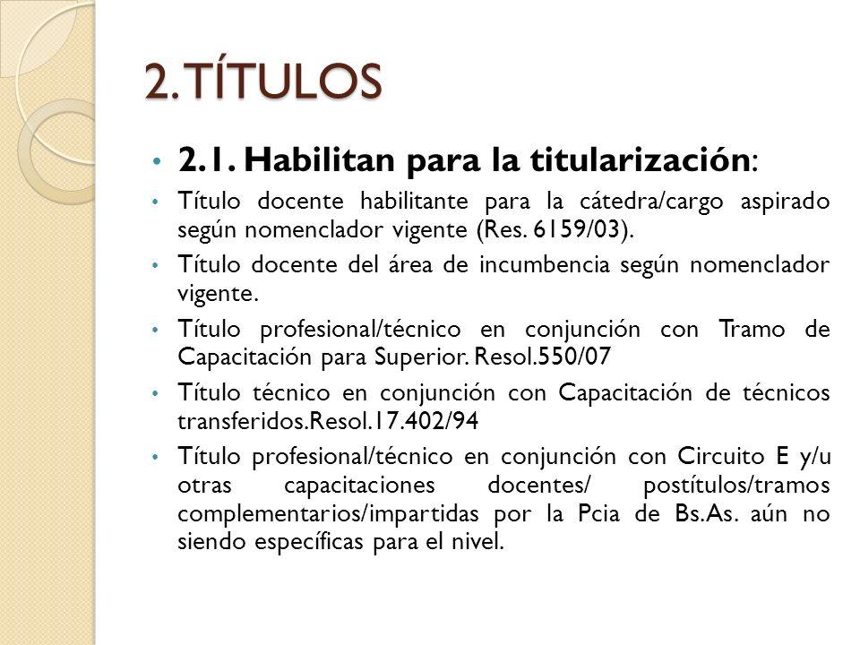 2. TÍTULOS 2.1. Habilitan para la titularización: Título docente habilitante para la cátedra/cargo aspirado según nomenclador vigente (Res. 6159/03).
