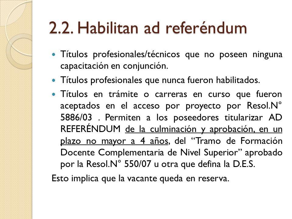 2.2. Habilitan ad referéndum Títulos profesionales/técnicos que no poseen ninguna capacitación en conjunción. Títulos profesionales que nunca fueron h