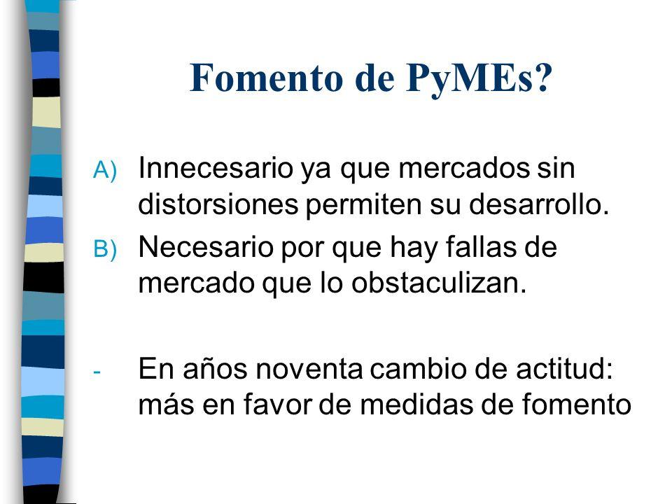 Fomento de PyMEs. A) Innecesario ya que mercados sin distorsiones permiten su desarrollo.