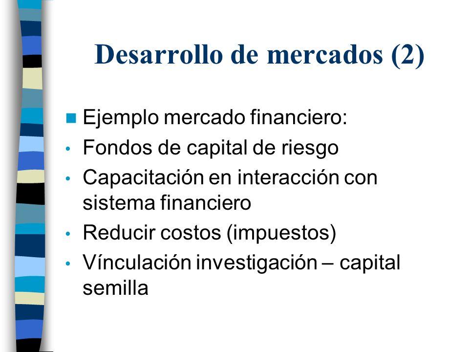 Ejemplo mercado financiero: Fondos de capital de riesgo Capacitación en interacción con sistema financiero Reducir costos (impuestos) Vínculación investigación – capital semilla Desarrollo de mercados (2)