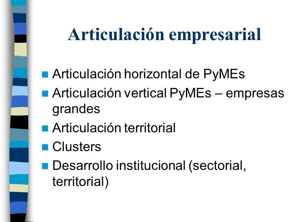 Articulación empresarial Articulación horizontal de PyMEs Articulación vertical PyMEs – empresas grandes Articulación territorial Clusters Desarrollo institucional (sectorial, territorial)