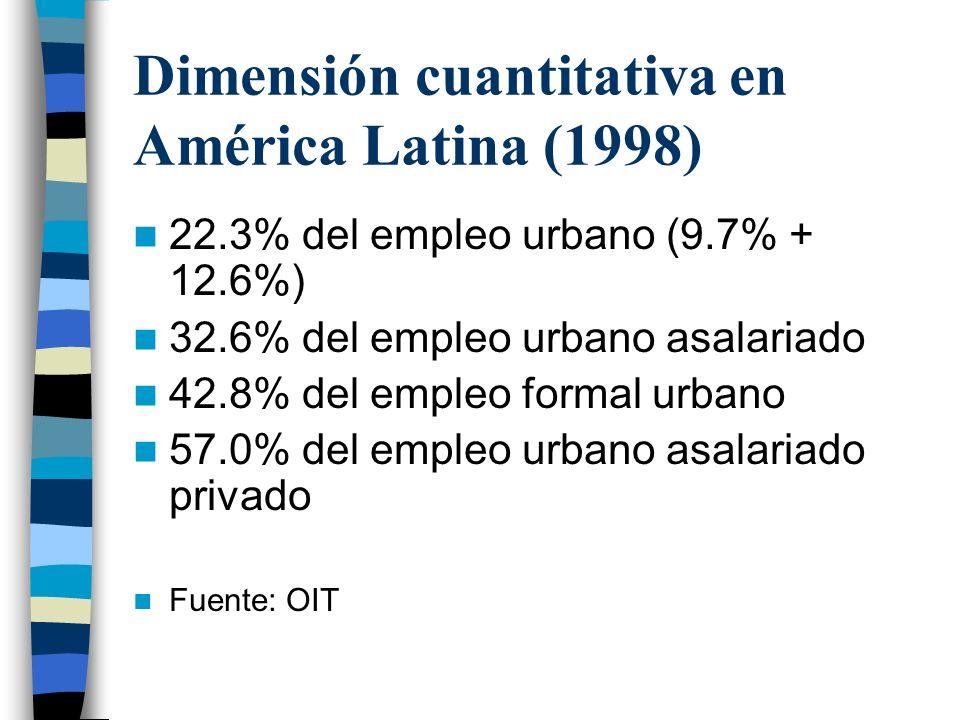 Dimensión cuantitativa en América Latina (1998) 22.3% del empleo urbano (9.7% + 12.6%) 32.6% del empleo urbano asalariado 42.8% del empleo formal urbano 57.0% del empleo urbano asalariado privado Fuente: OIT