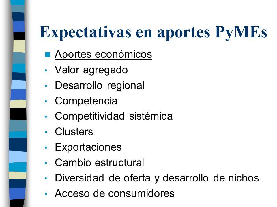 Expectativas en aportes PyMEs Aportes económicos Valor agregado Desarrollo regional Competencia Competitividad sistémica Clusters Exportaciones Cambio estructural Diversidad de oferta y desarrollo de nichos Acceso de consumidores